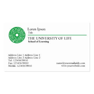University of Life - Green Rule Pack Of Standard Business Cards
