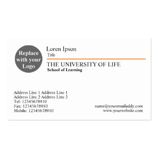University of Life - Orange Rule Business Card Templates