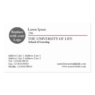 University of Life - Red Rule Business Cards