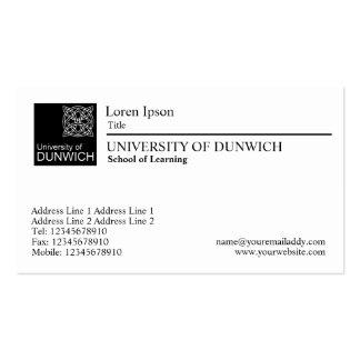 University Style - Black Rule Pack Of Standard Business Cards