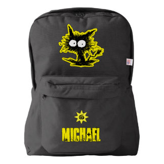 Unkempt Kitten Black and Yellow Backpack