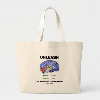 Unleash The Neuroscientist Within (Brain Anatomy) Large Tote Bag