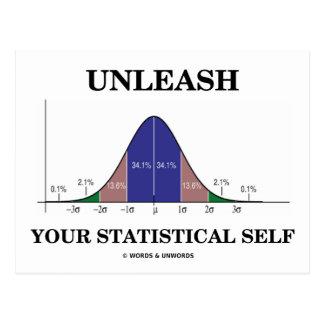 Unleash Your Statistical Self Bell Curve Humor Postcard