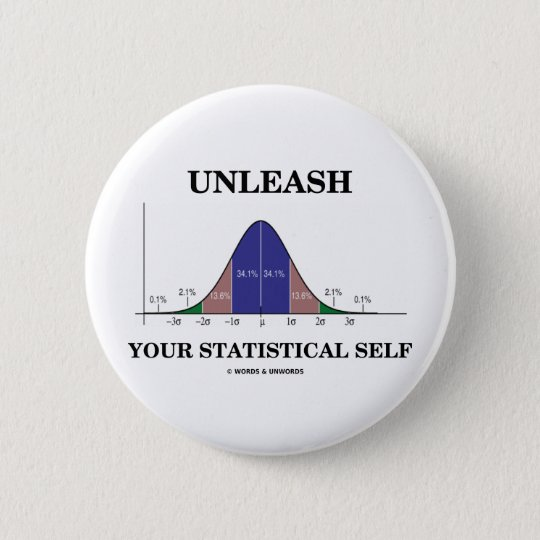 Unleash Your Statistical Self (Bell Curve Humour) 6 Cm Round Badge