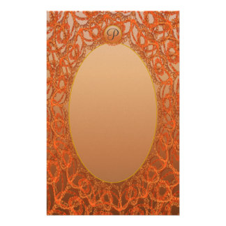 Unlined Monogram Gold Bronze Lace p1 Stationery