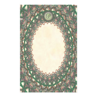 Unlined Monogram Green Lace p1 Stationery