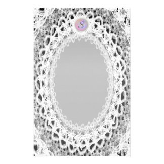 Unlined Monogram White Lace III p1 Stationery
