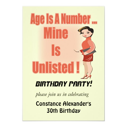 Unlisted Age Birthday Party Invitations