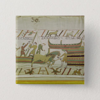 Unloading horses from the ships 15 cm square badge