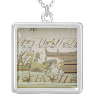 Unloading horses from the ships silver plated necklace