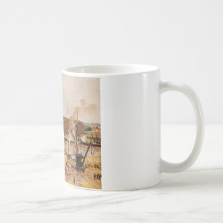 Unloading Wood at Rouen by Camille Pissarro Coffee Mug