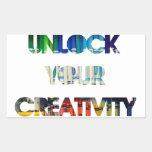 UNLOCK YOUR CREATIVITY RECTANGULAR STICKER