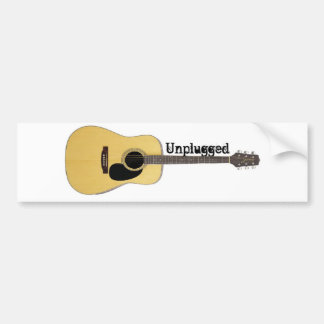 Unplugged Acoustic Guitar Bumper Sticker
