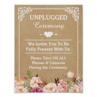Unplugged Ceremony Wedding Sign Floral Kraft