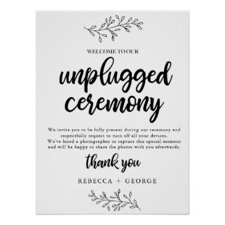 Unplugged Ceremony Wedding sign rustic botanical