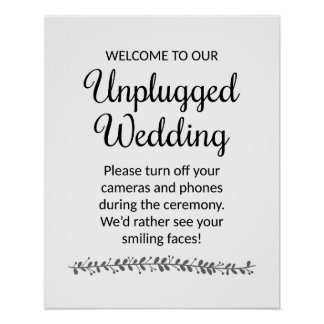 Unplugged Wedding Ceremony Sign - Rochester