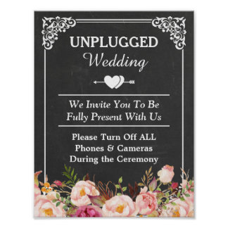 Unplugged Wedding Sign Vintage Chalkboard Floral Poster
