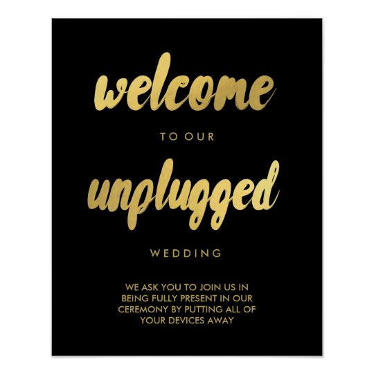 UNPLUGGED Wedding Welcome gold trendy glam sign