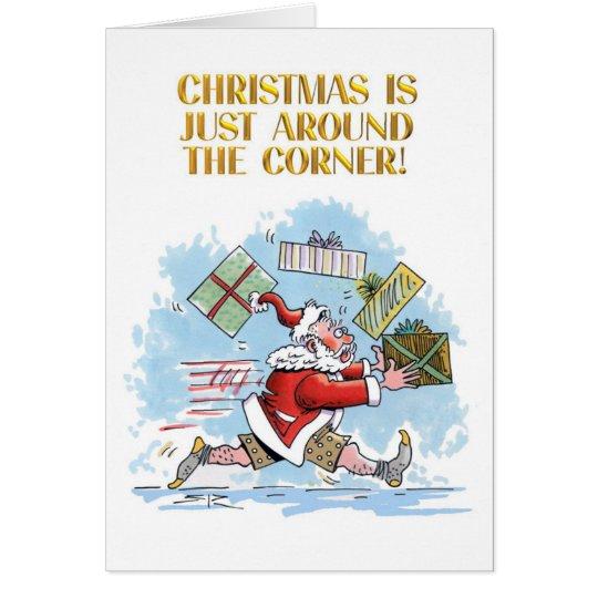 Unprepared cartoon Christmas greeting card