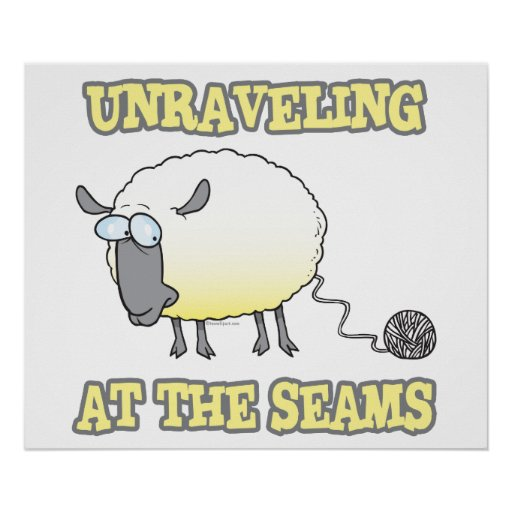 unraveling at the seams funny sheep cartoon poster
