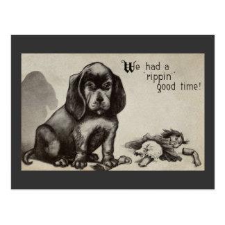 Unrepentant Pup and Demolished Doll Postcard