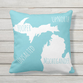 Unsalted Michigan Map Yooper Michigander Up North Outdoor Cushion