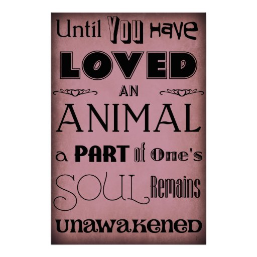 """""""Until You Have Loved An Animal..."""" Poster Purple"""