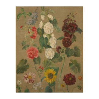 Untitled (Flowers) (oil on board) Wood Print