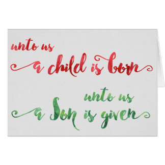 Unto us a child is born Christmas card