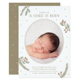 Unto Us a Child is Born Holiday Birth Announcement