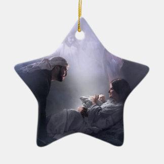 Unto Us, the Nativity Ceramic Star Decoration