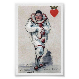 Unusual Clown King of Hearts Playing Card Image Poster