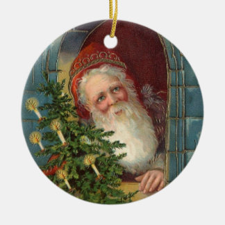 Unusual elegant santa with tree & candles christmas ornament