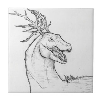 Unusual Horned T-Rex Design Small Square Tile