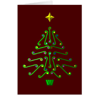 Unusual modern pixel art Christmas Tree Card