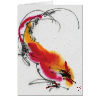 Unusual Rooster. Calligraphy and watercolor. Greeting Card