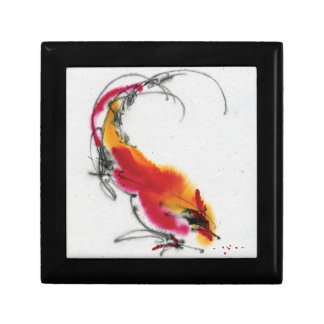 Unusual Rooster. Calligraphy and watercolor. Small Square Gift Box