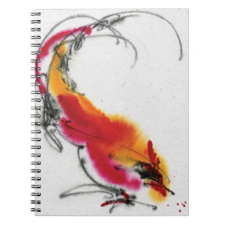 Unusual Rooster. Calligraphy and watercolor. Spiral Notebook