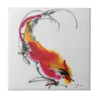 Unusual Rooster. Calligraphy and watercolor. Tile