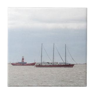 Unusual Three Masted Sailing Vessel Ceramic Tile
