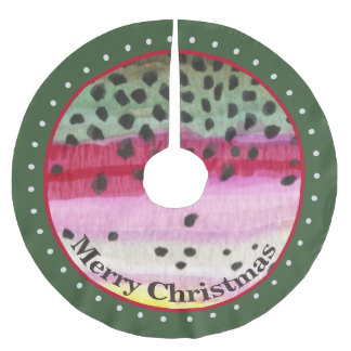 Unusual Trout Fly Fishing Brushed Polyester Tree Skirt