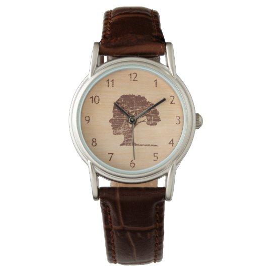 Unusual vintage designers cool rustic wood tree watch