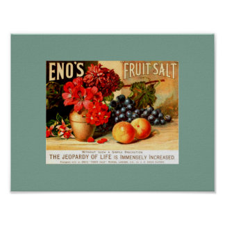 Unusual VINTAGE FRUIT & FLORAL ENO'S FRUIT SALT Poster