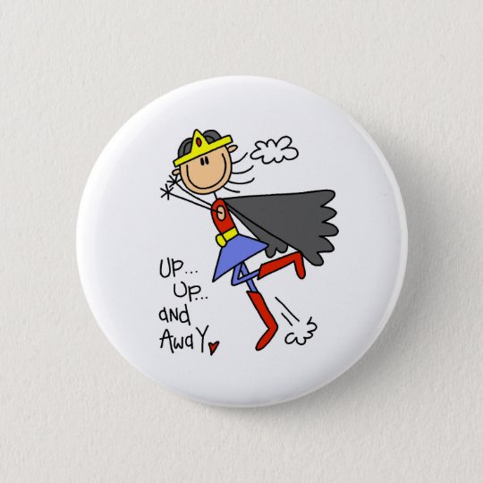 Up and Away Girl Hero 6 Cm Round Badge