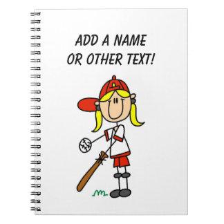 Up At Bat Girl Stick Figure Baseball Gifts Notebook