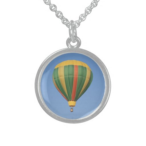 Up Early Hot Air Balloon Sterling Silver Necklaces