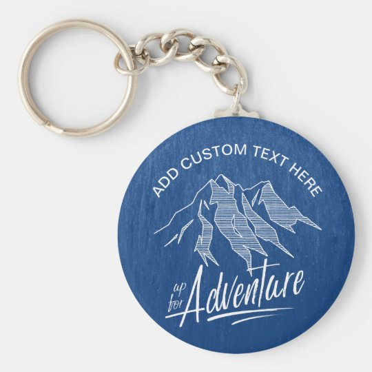 Up For Adventure Mountains White ID358 Basic Round Button Key Ring