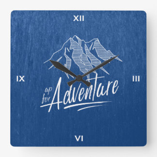 Up For Adventure Mountains White ID358 Wallclocks