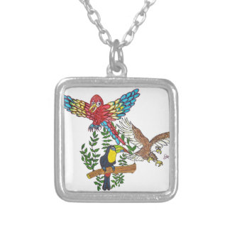 Up in the air they flew silver plated necklace