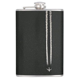 Up in the Sky/High Altitude Airplane Contrail Hip Flasks
